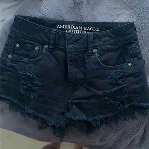 Women's Black Jeaned Shorts